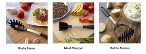 NEW!- Rada Cutlery: 3 Piece NON-SCRATCH SPECIALTY UTENSIL SET--Chopper, Masher and Pasta Server