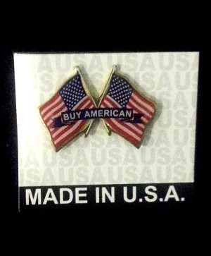"Crossed Flags ""BUY AMERICAN"" Lapel Pin- MADE IN USA (free shipping)"