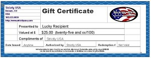 Strictly USA $25.00 Gift Certificate